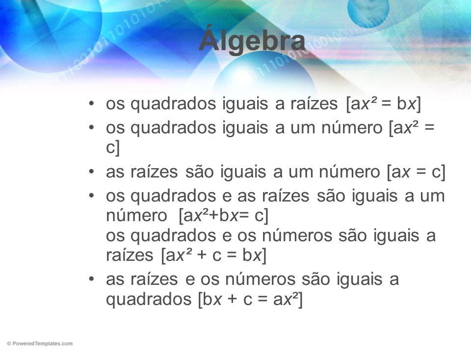 Álgebra os quadrados iguais a raízes [ax² = bx]